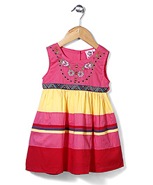 Smile Rabbit Striped Pattern Dress With Flower Design - Red, Yellow, Pink