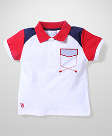 Poly Kids Trendy T-Shirt - White Blue & Red