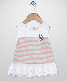 Notty Kid Cat Print Dress - White