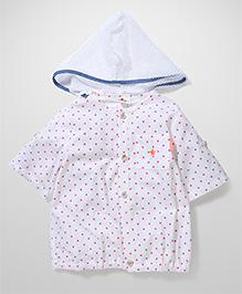 Petit CuCu Star Print Hooded T-Shirt - White