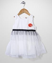 Petit CuCu Dress With Flower Applique - White
