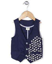 Petit Cucu Star Print Jacket - Navy Blue
