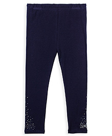 Barbie Full Length Leggings Stone Work - Navy