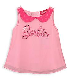 Barbie Sleeveless Top Pearl Work - Pink