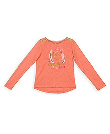 Barbie Long Sleeves Party Wear Top Glittery Print - Orange