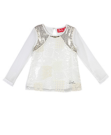 Barbie Long Sleeves Party Wear Top Sequin Work - Off White