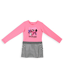 Barbie Full Sleeves Pullover Party Wear Frock Graphic Print - Pink