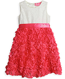 Barbie Sleeveless Party Wear Frock Floral Applique - White Pink