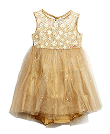 Barbie Sleeveless Party Wear Frock Floral Applique - Golden