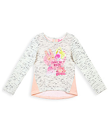 Barbie Long Sleeves Top Graphic Print - Off White