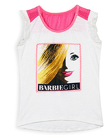 Barbie Sleeveless Top Graphic Print - Off White