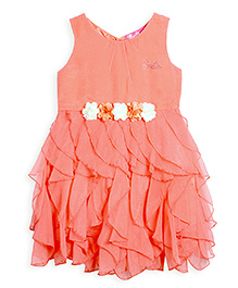 Barbie Sleeveless Party Wear Frock Floral Applique - Peach