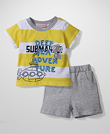 Sleeping Baby Deep Sea Adventure Print T-Shirt & Shorts - Yellow & Grey