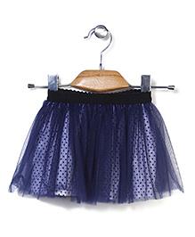 Petit CuCu Net Skirt With Dot Print - Blue
