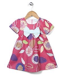 Dazzle Kid Flower Print Dress - Pink
