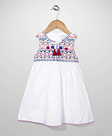 Dazzle Kid Embroidered Dress - White