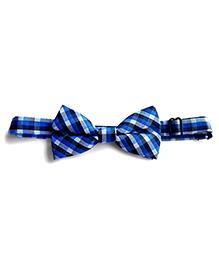 Milonee Plaid Bow Tie - Blue Black & White