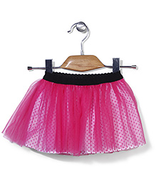 Petit CuCu Net Skirt With Dot Print - Pink