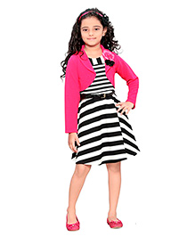 Peek a Boo Stripped Frock With Jacket & Belt - White Black & Pink