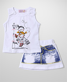 Sleeping Baby 3 Girls Print Top & Skirt Set - White