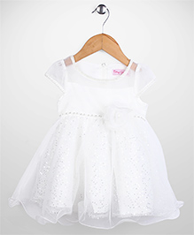 Tiny Girl Short Sleeves Party Frock Floral Applique - White