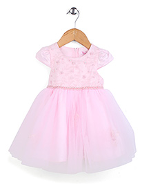 Tiny Girl Cap Sleeves Net Party Frock - Pink