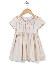 Dazzle Kid Embroidered Dress - Off White