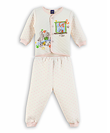 Lilliput Kids Full Sleeves Printed Top And Pant - LIght Pink