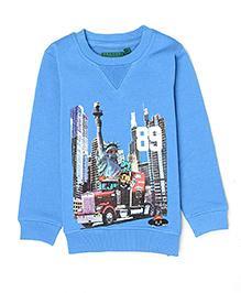 K CO 89 Full Sleeves Printed Fleece Sweatshirt - Blue