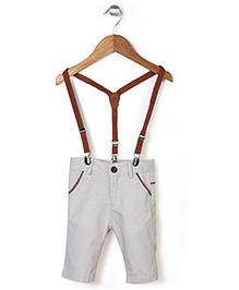 Elite Fashion Suspender Pants - Cream