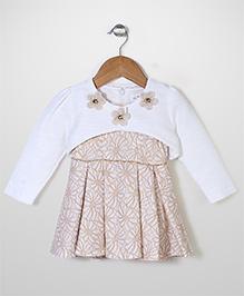 Elite Fashion Flower Print Dress With Jacket - Cream