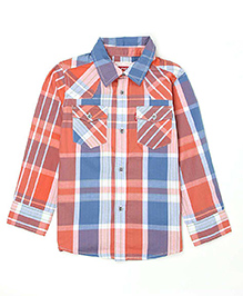Levis Full Sleeves Checked Shirt - Blue and Orange