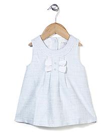 Elite Fashion Sleeveless Dress With Bow - Light Blue