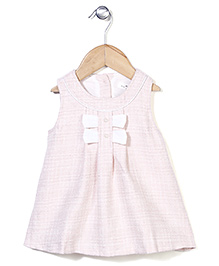 Elite Fashion Sleeveless Dress With Bow - Light Pink