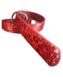 NeedyBee Heart Shape Buckle Dress Belt - Red
