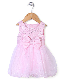 Beautiful Girl Party Frock With Bow - Pink