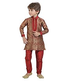 Shree Shubh Full Sleeves Kurta And Pajama - Golden Maroon