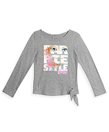 Barbie Full Sleeves Top Graphic Print - Light Grey