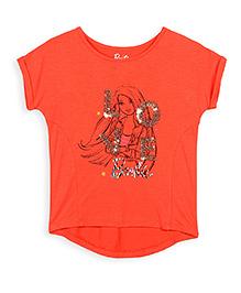 Barbie Short Sleeve Top Sequin Work - Orange