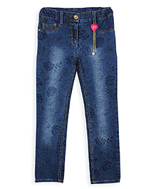 Barbie Full Length Printed Jeans - Blue