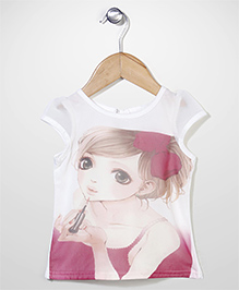 Babyhug Cap Sleeves Party Wear Top Digital Print - White Pink