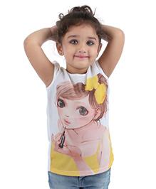 Babyhug Cap Sleeves Party Wear Top Digital Print - White Yellow