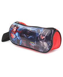 DC Comics Pencil Pouch Superman Batman Print - Red And Black
