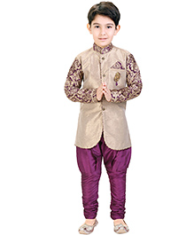Shree Shubh Full Sleeves Kurta and Payjama Set - Beige and Purple
