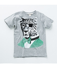 MilkTeeth Leopard Print T-Shirt - Light Grey