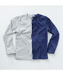 MilkTeeth Twin Crew Neck T-Shirt - Grey & Navy
