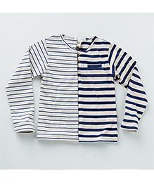 MilkTeeth Twin Henley Stripe T-Shirt - Navy & White