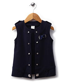 Babyhug Sleeveless Jacket Bow Applique - Navy