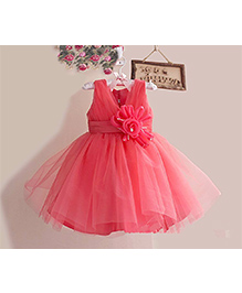 Tickles 4 U Sleeveless Party Dress With Flower - Pink