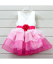 Little Muffet Sleeveless Party Dress With Flower - White & Pink